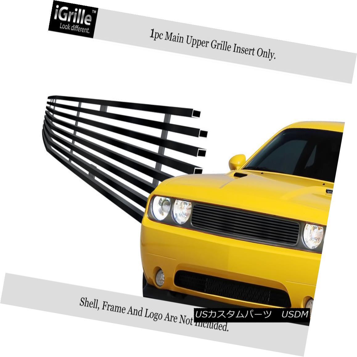 グリル Fits 2009-2014 Dodge Challenger Black Stainless Steel Billet Grille Grill Insert フィット2009-2014ダッジチャレンジャーブラックステンレス鋼ビレットグリルグリルインサート