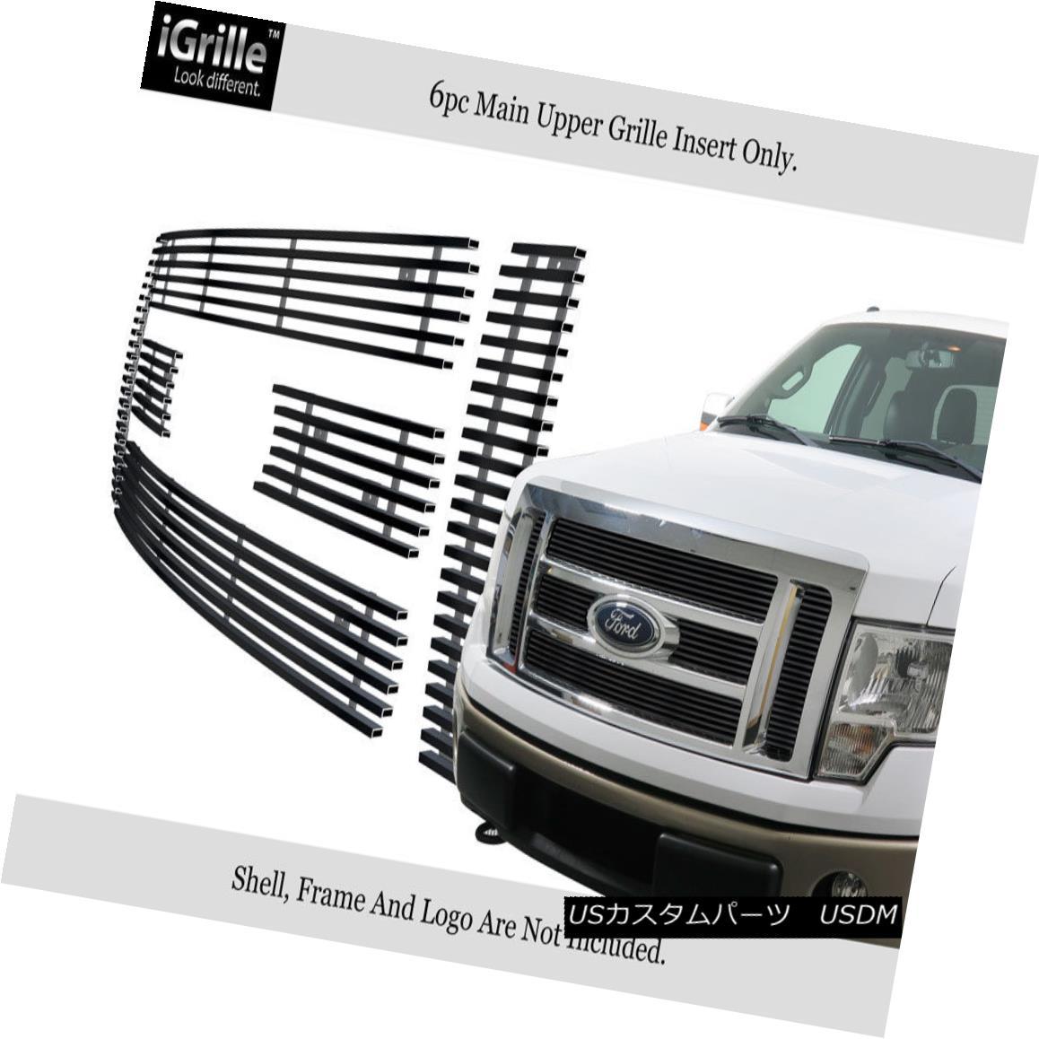 グリル For 2009-2012 Ford F-150 Lariat/King Ranch Black Stainless Steel Billet Grille 2009-2012フォードF-150ラリアット/キングランチブラックステンレススチールビレットグリル