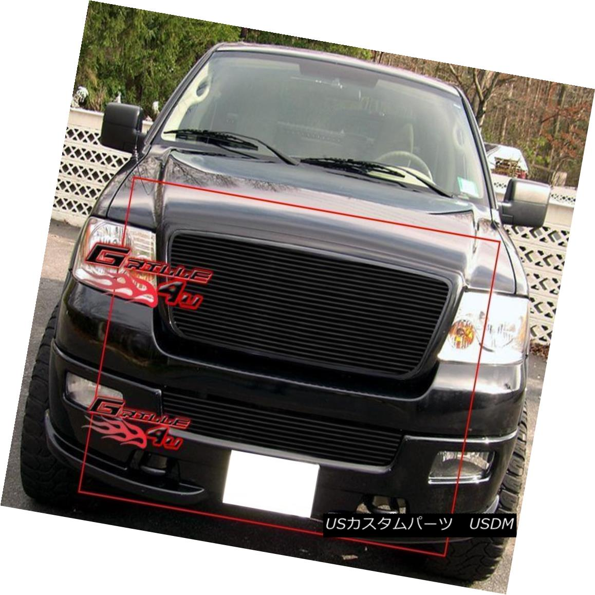 グリル Fits 04-05 Ford F-150 Honeycomb Black Billet Grille Combo フィット04-05 Ford F-150ハニカムブラックビレットグリルコンボ