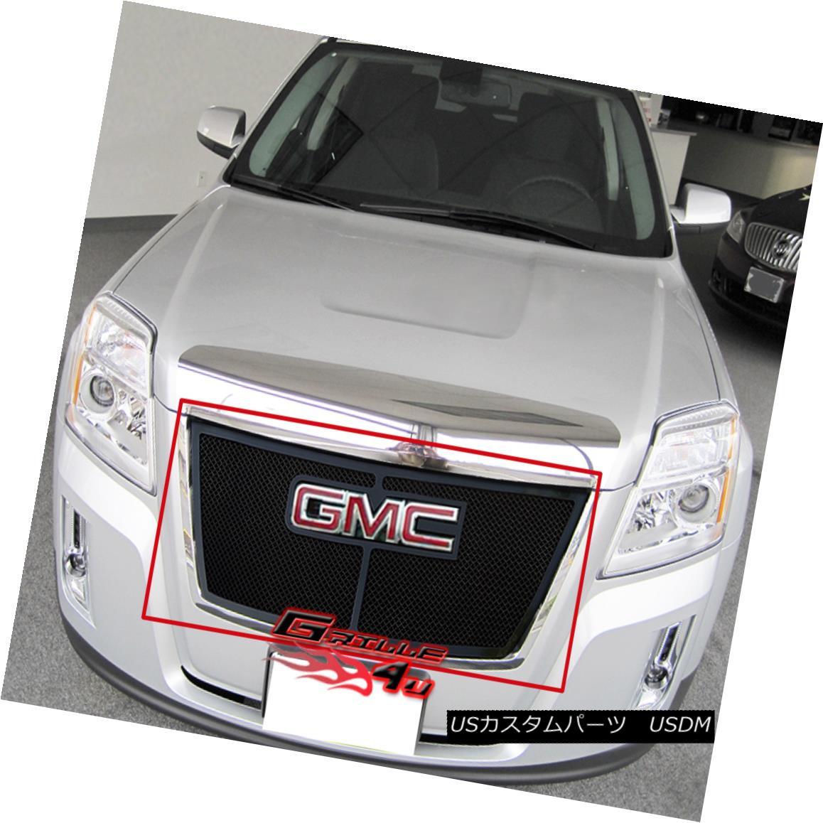 グリル Fits 2010-2015 GMC Terrain Black Stainless Steel Mesh Grille Insert フィット2010-2015 GMC地形黒ステンレスメッシュグリルインサート