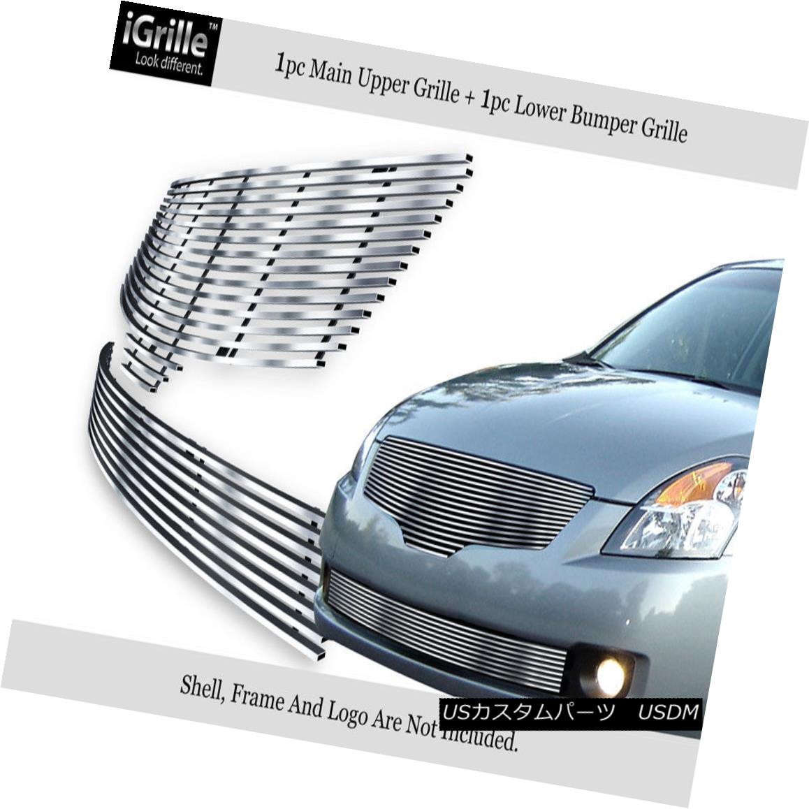 グリル Fits 2007-2009 Nissan Altima Sedan Stainless Steel Billet Grille Combo フィット2007年 - 2007年日産アルティマセダンステンレス鋼ビレットグリルコンボ