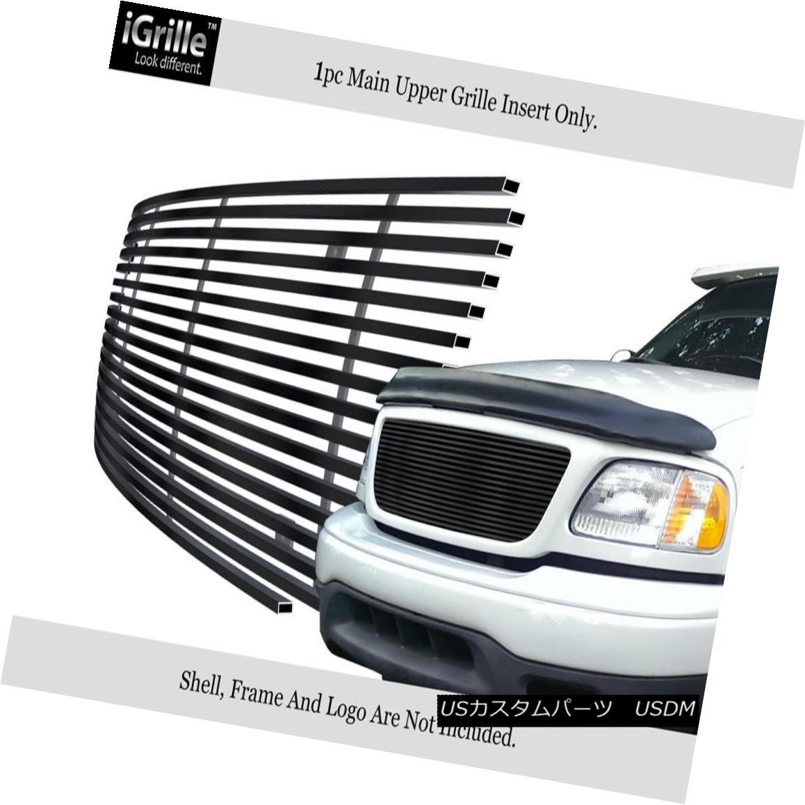 グリル Fits 1999-2003 Ford F-150/Lightning/Harley Black Stainless Steel Billet Grille 1999-2003 Ford F-150 / Lightnin g / Harley Black Stainless Steel Billet Grilleに適合