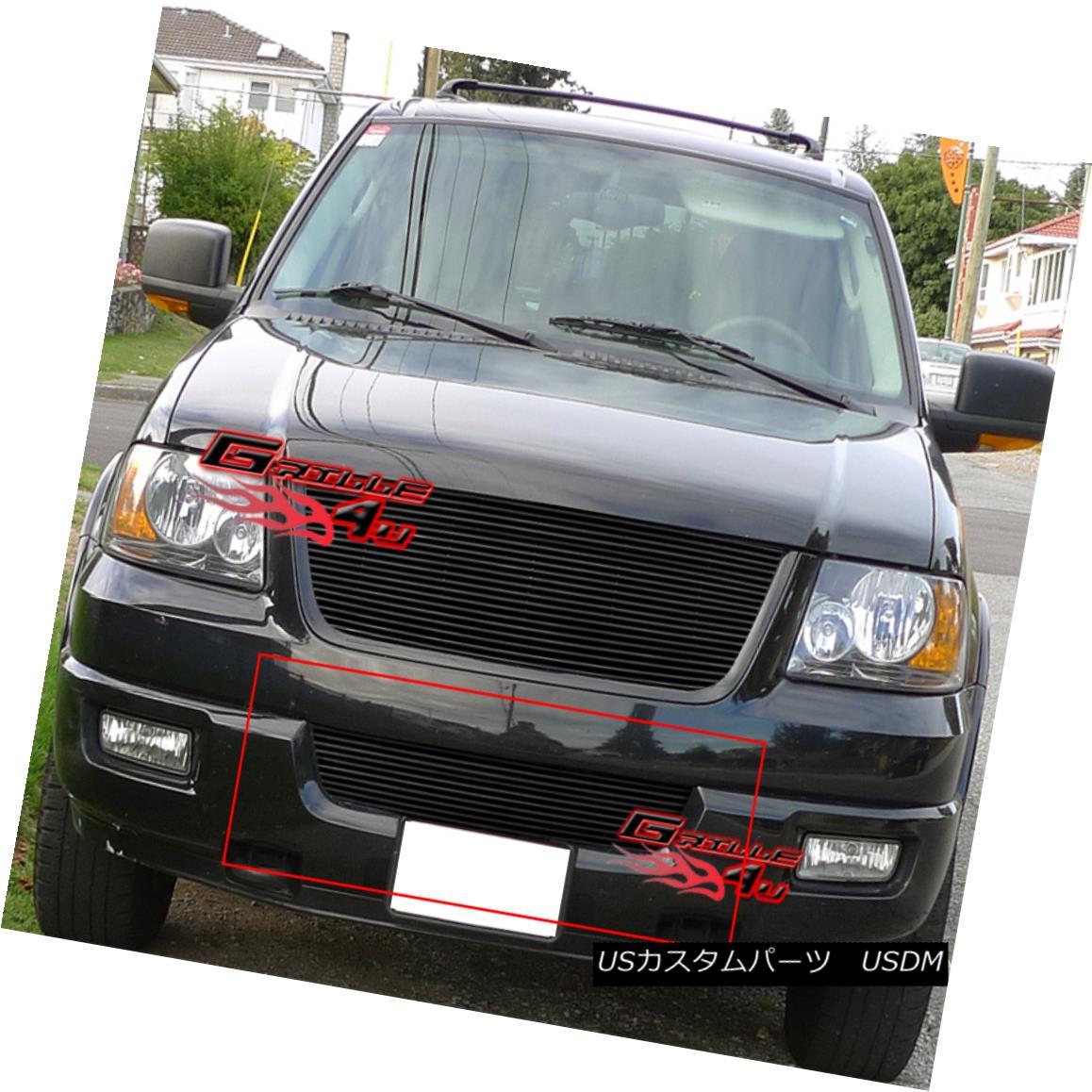 グリル Fits 2003-2006 Ford Expedition Bumper Black Billet Grille Insert フィット2003-2006フォード遠征バンパーブラックビレットグリルインサート