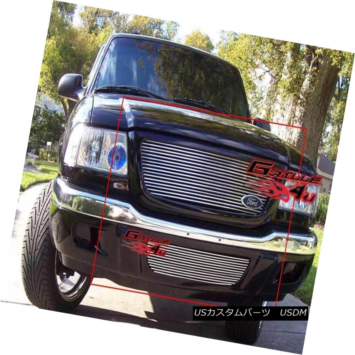 グリル Fits 2001-2003 Ford Ranger XLT/ XL 2WD Billet Grille Combo フィット2001-2003フォードレンジャーXLT / XL 2WDビレットグリルコンボ