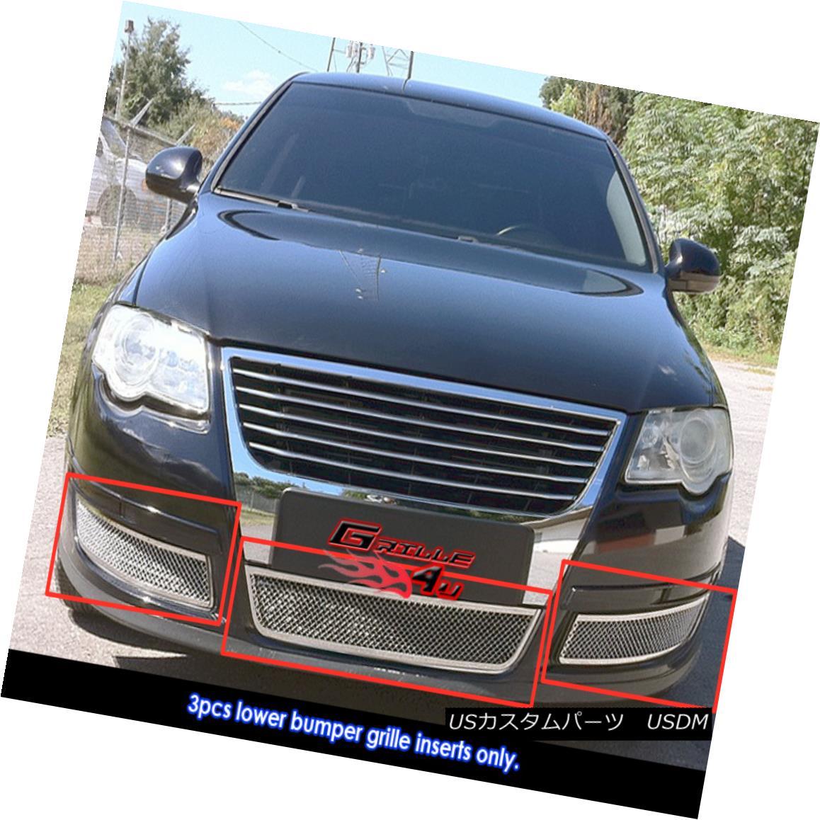 グリル Fits 2006-2007 VW Volkswagen Passat Bumper Stainless Mesh Grille 2006-2007 VWフォルクスワーゲンパサートバンパーステンレスメッシュグリルに適合