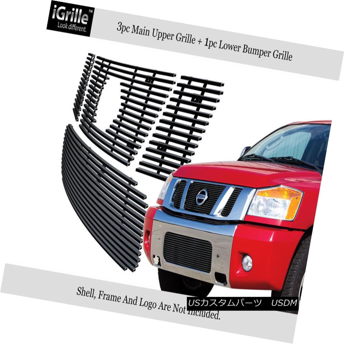 グリル Fits 2008-2014 Nissan Titan Stainless Steel Black Billet Grille Combo フィット2008-2014日産タイタンステンレス鋼ブラックビレットグリルコンボ