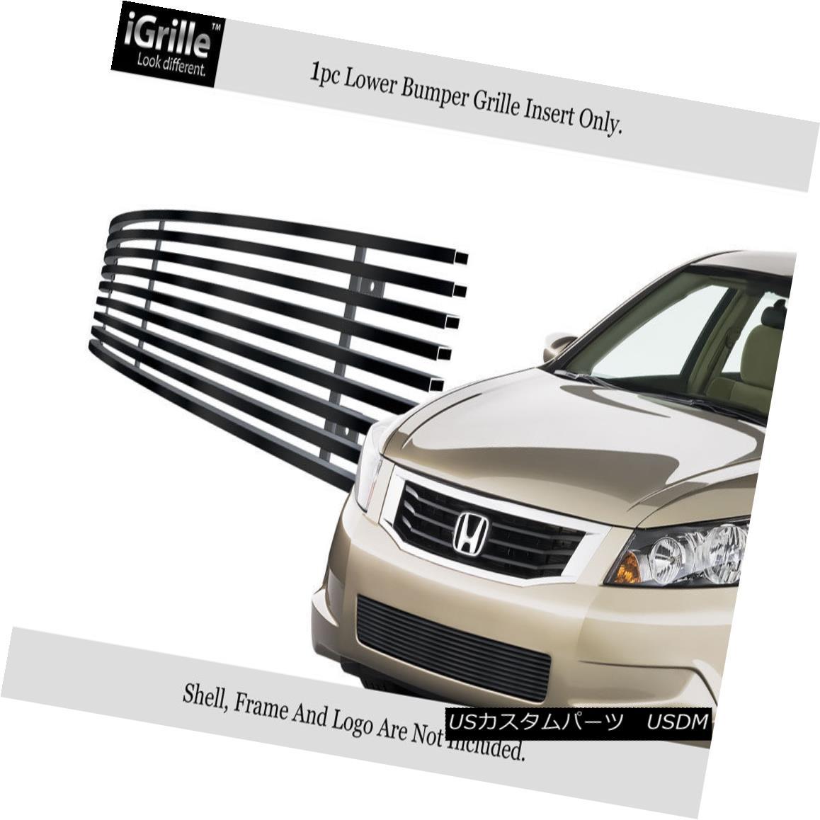 グリル Fits 08-10 Honda Accord Sedan Black Bumper Stainless Steel Billet Grille Insert フィット08-10ホンダアコードセダンブラックバンパーステンレス鋼ビレットグリルインサート