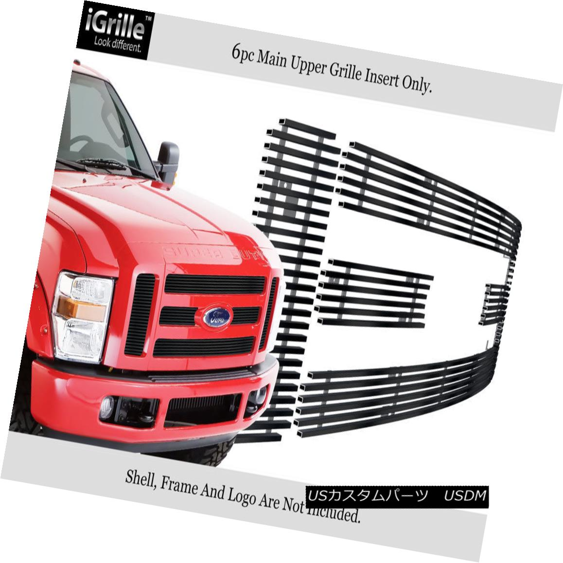 グリル Fits 2008-2010 Ford F-250/F-350 SD Stainless Steel Black Billet Grille フィット2008-2010フォードF-250 / F-350 SDステンレススチールブラックビレットグリル