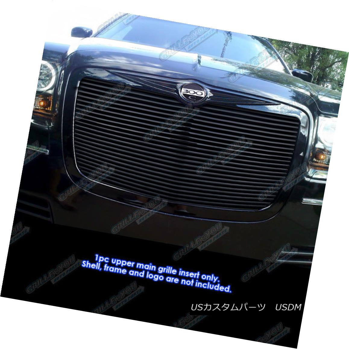 グリル Fits 2005-2010 Chrysler 300/300C Black Phat Billet Grille Grill Insert 2005-2010年に適合するクライスラー300 / 300Cブラックファットビレットグリルグリルインサート
