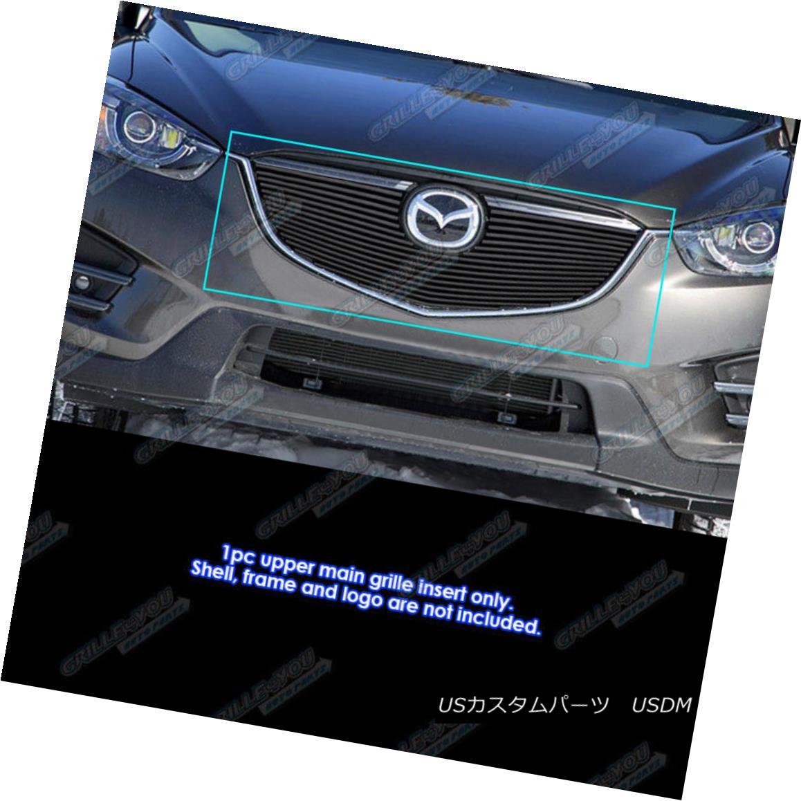 グリル Fits 2012-2015 Mazda CX-5 Black Main Upper Billet Grille Insert フィット2012-2015マツダCX - 5ブラックメインアッパービレットグリルインサート