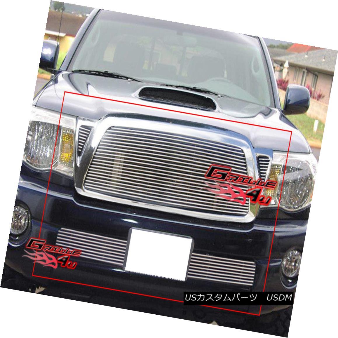 グリル Fits 2005-2010 Toyota Tacoma Billet Grille Grill Combo Insert フィット2005-2010トヨタタコマビレットグリルグリルコンボインサート