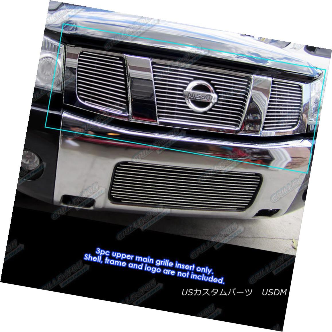 グリル Fits 2004-2007 Nissan Titan/ Armada Main Upper Billet Grille Insert 2004-2007 Nissan Titan / Armadaメインアッパービレットグリルインサート