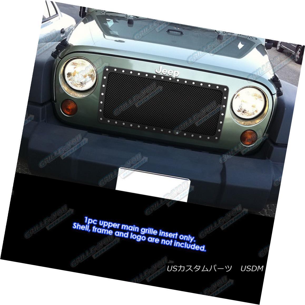 グリル Fits 2007-2017 Jeep Wrangler Stainless Steel Rivet Black Mesh Grille Insert フィット2007年から17年ジープラングラーステンレス鋼リベットブラックメッシュグリルインサート