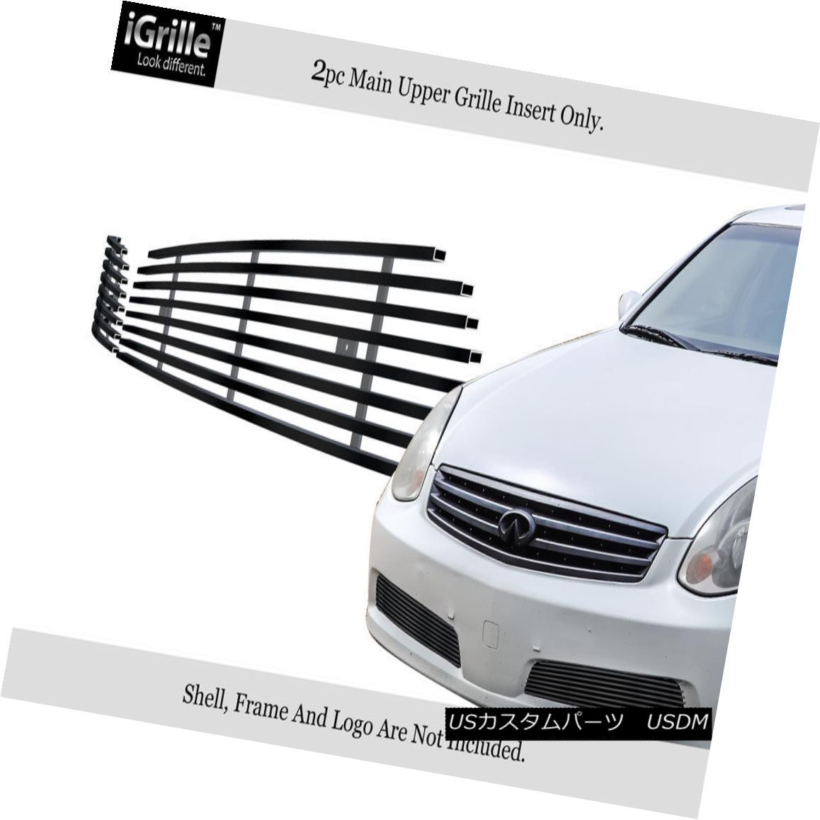 グリル Fits 05-06 Infiniti G35 Sedan Black Bumper Stainless Steel Billet Grille Insert フィット05-06インフィニティG35セダンブラックバンパーステンレス鋼ビレットグリルインサート