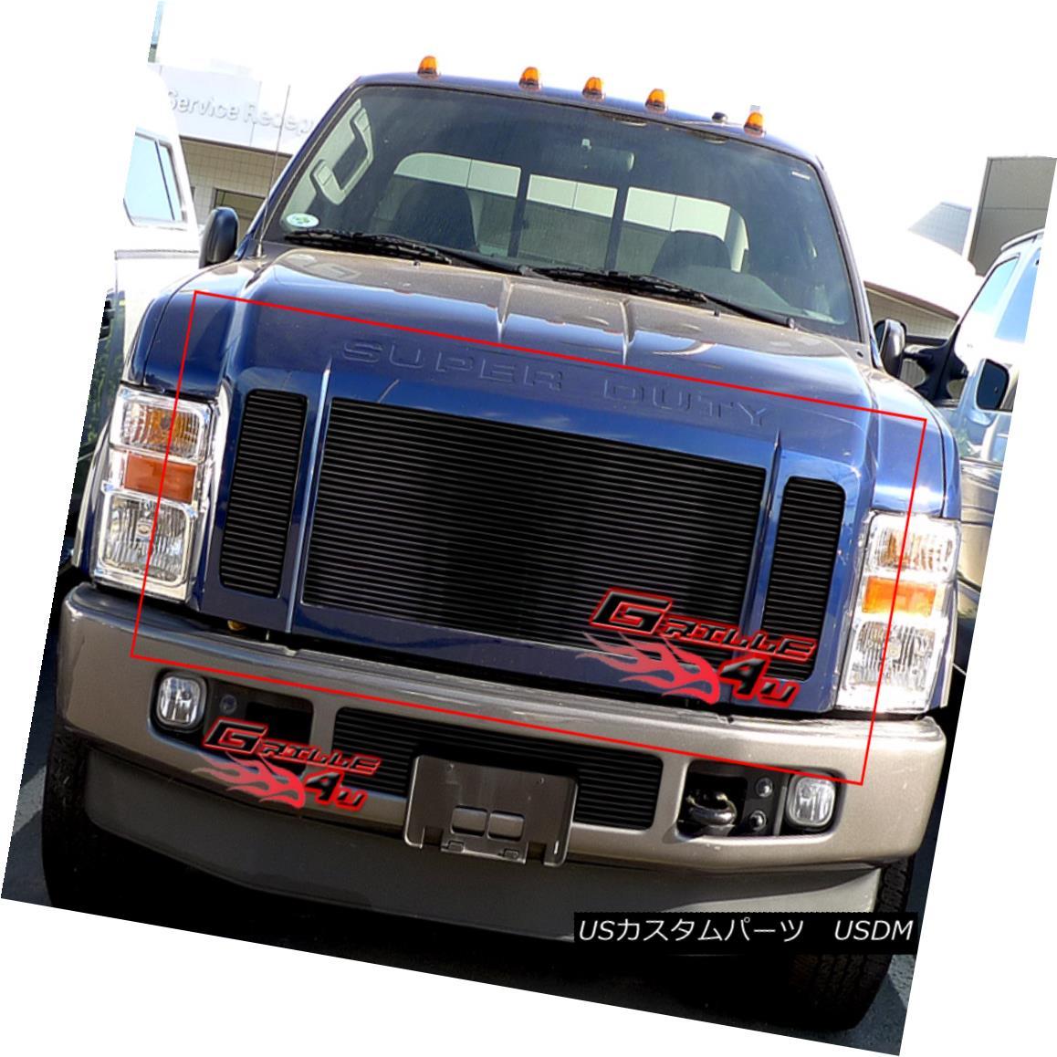 グリル Fits 2008-2010 Ford F250/F350/F450 Black Billet Grille Insert フィット2008-2010フォードF250 / F350 / F450ブラックビレットグリルインサート