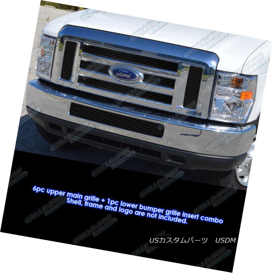 グリル For 2008-2014 Ford Econoline/ E-Series Passenger Black Billet Grille Combo 2008?2014年フォードEconoline / Eシリーズ旅客用ブラックビレットグリルコンボ用