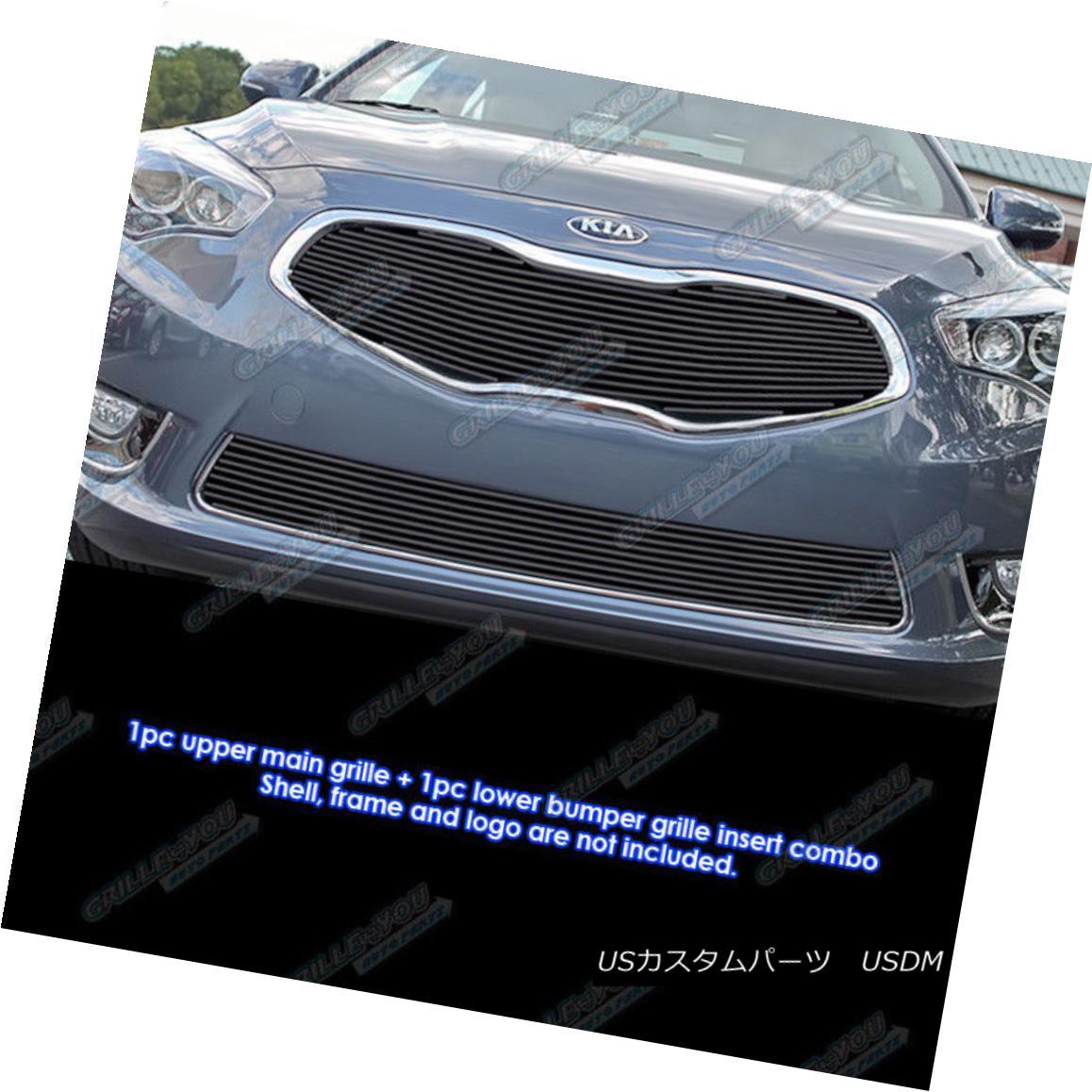 グリル Fits 2014-2015 Kia Cadenza Bolt Over Black Billet Grille Combo フィット2014-2015ブラックビレットグリルコンボ以上のキアカデンツァボルト
