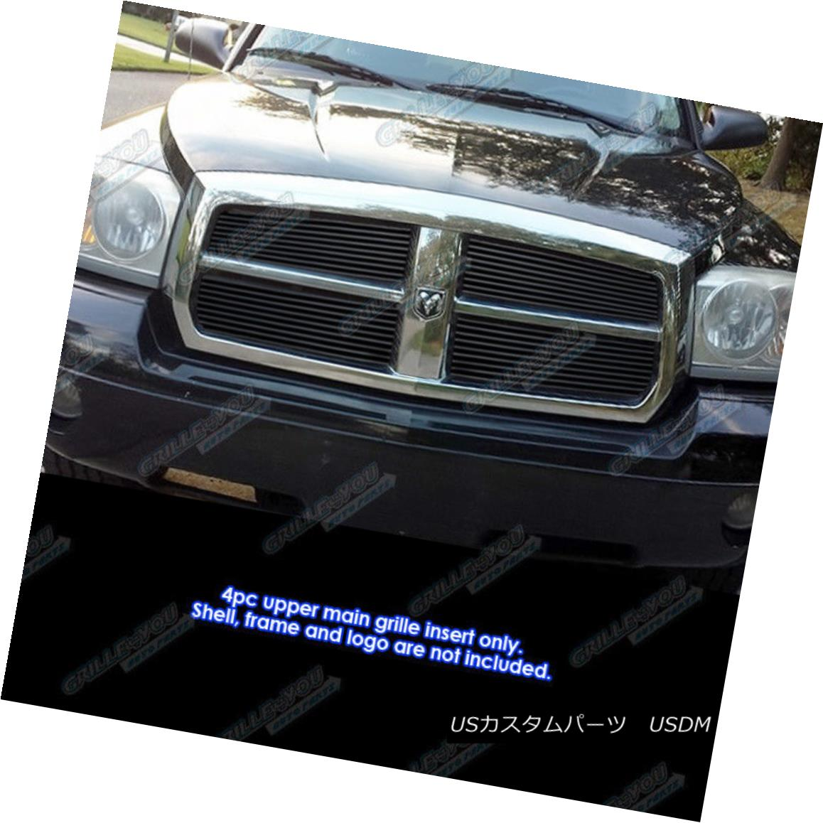 グリル Fits 2005-2007 Dodge Dakota Black Billet Grille Grill Insert 2005-2007 Dodge Dakota Black Billetグリルグリルインサートに適合