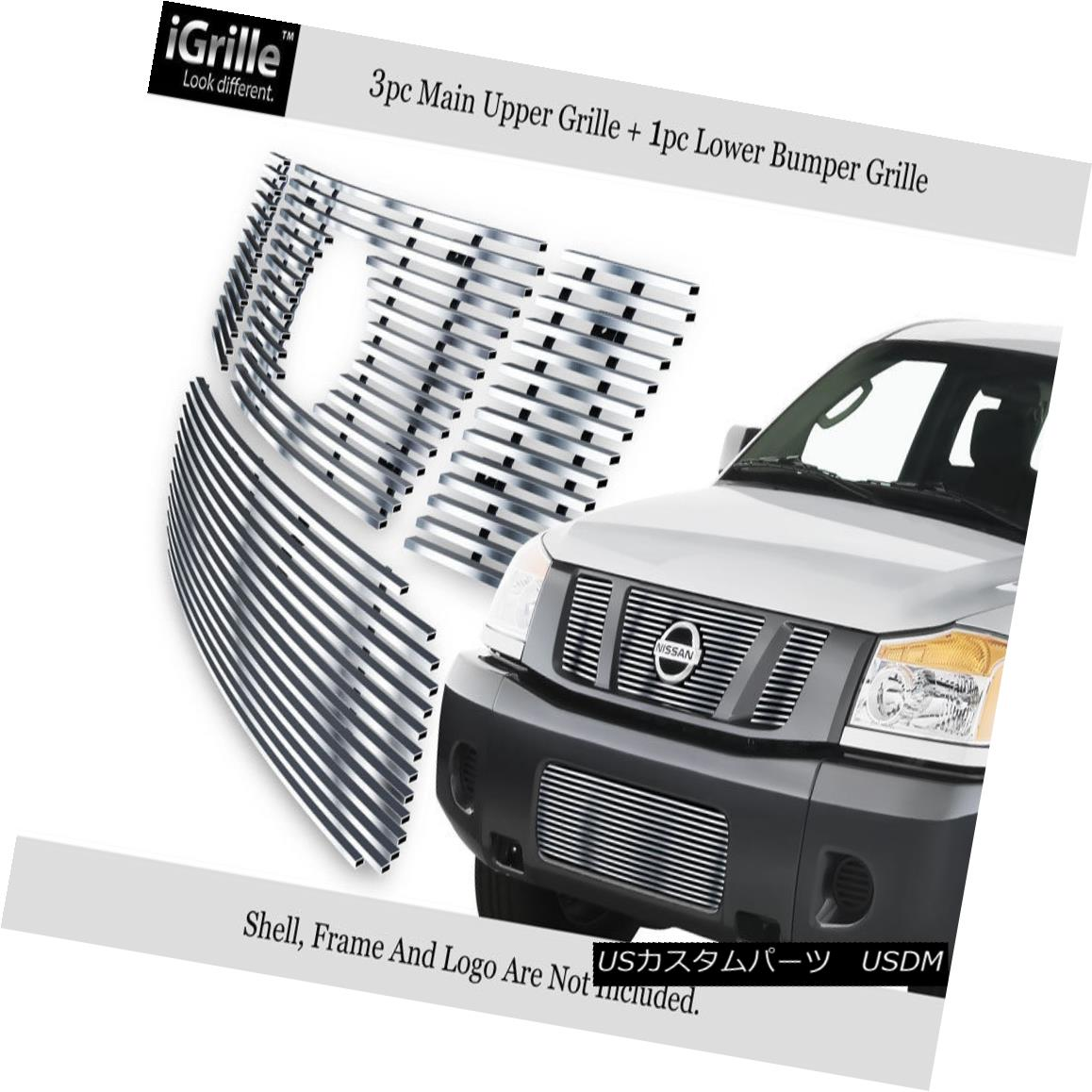 グリル 304 Stainless Steel Billet Grille Combo Fits 08-11 2011 Nissan Titan 304ステンレス鋼ビレットグリルコンボフィッティング08-11 2011 Nissan Titan