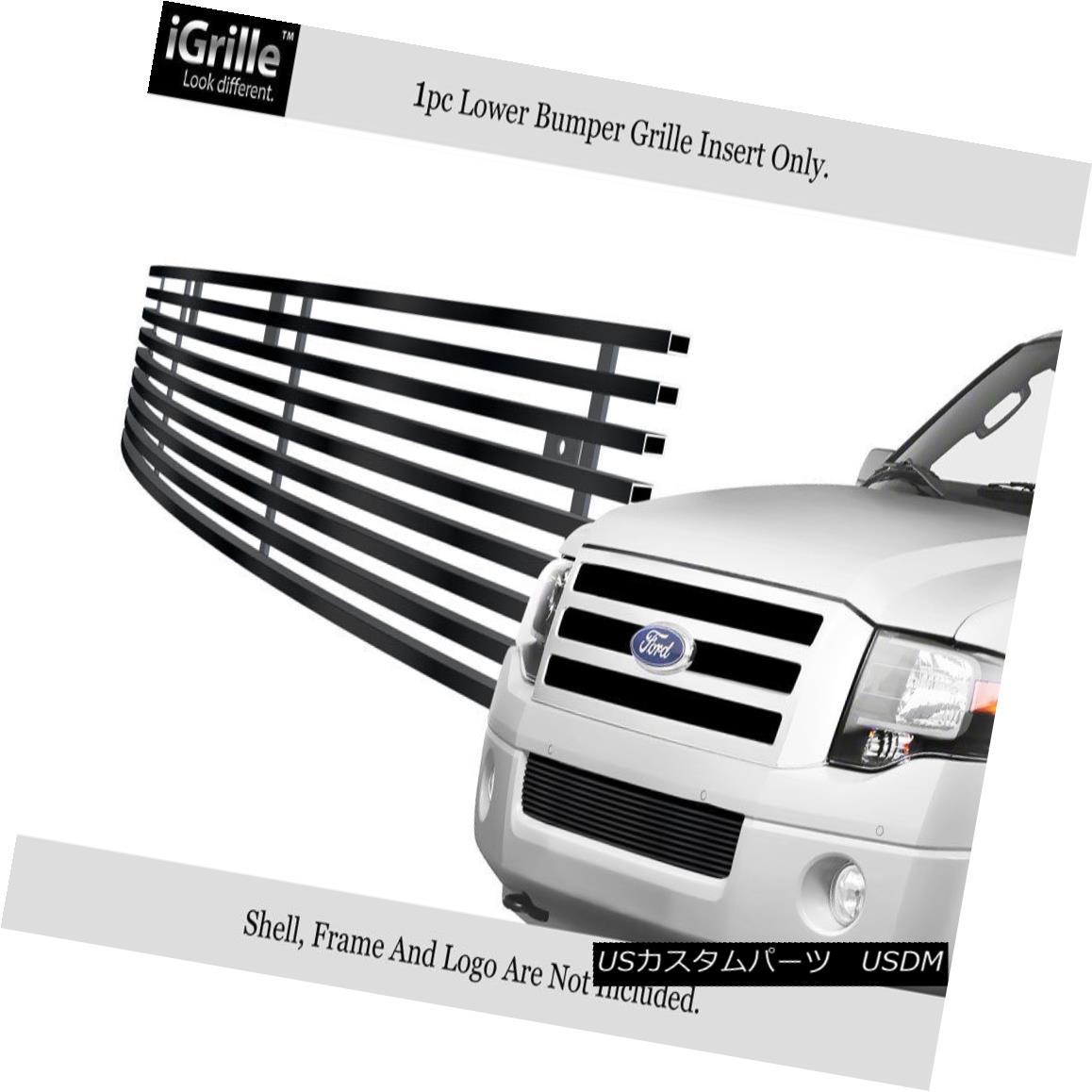 グリル For 2007-2014 Ford Expedition Bumper Black Stainless Steel Billet Grille 2007?2014年フォード遠征バンパーブラックステンレス鋼ビレットグリル