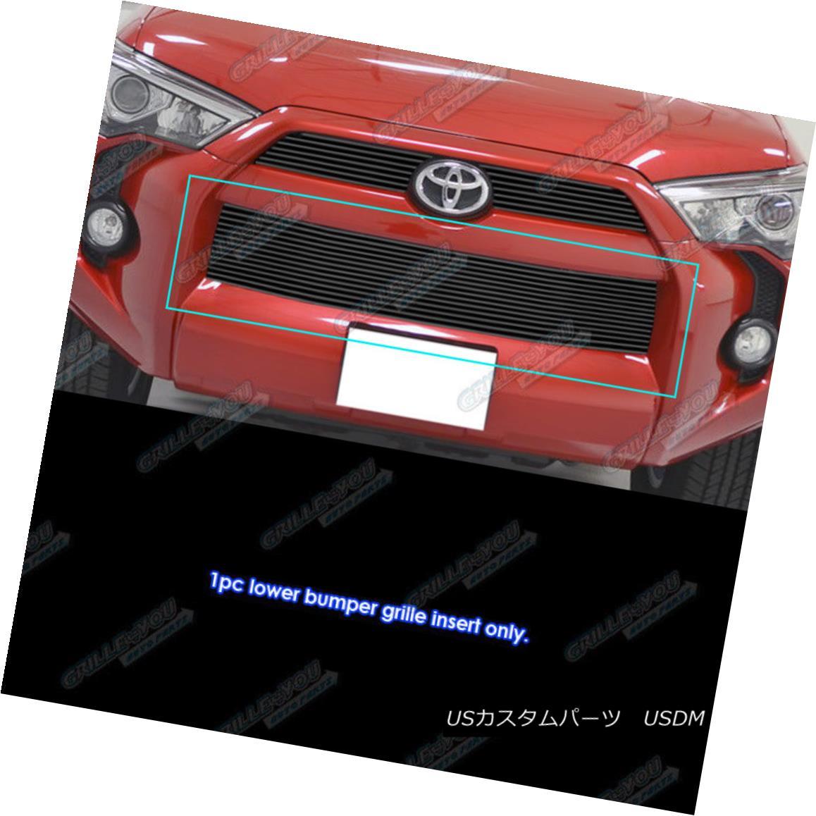 グリル Fits 2014-2018 Toyota 4Runner Regular Model Black Bumper Billet Grille Insert フィット2014-2018トヨタ4Runnerレギュラーモデルブラックバンパービレットグリルインサート