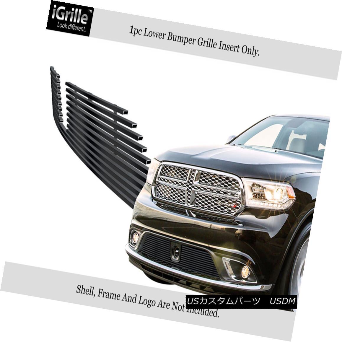 グリル For 14-18 Dodge Durango W/Adapter Control Stainless Black Bumper Billet Grille 14-18 Dodge Durango W / Adaptorコントロール用ステンレスブラックバンパービレットグリル