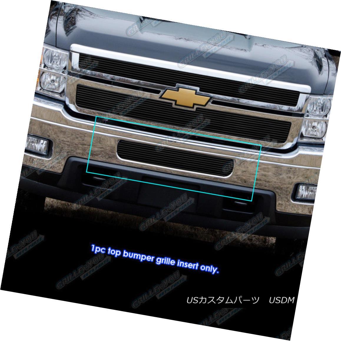 グリル 2011-2014 Chevy Silverado 2500HD/3500HD Black Bumper Billet Grille Grill Insert 2011-2014シボレーシルバラード2500HD / 3500HDブラックバンパービレットグリルグリルインサート