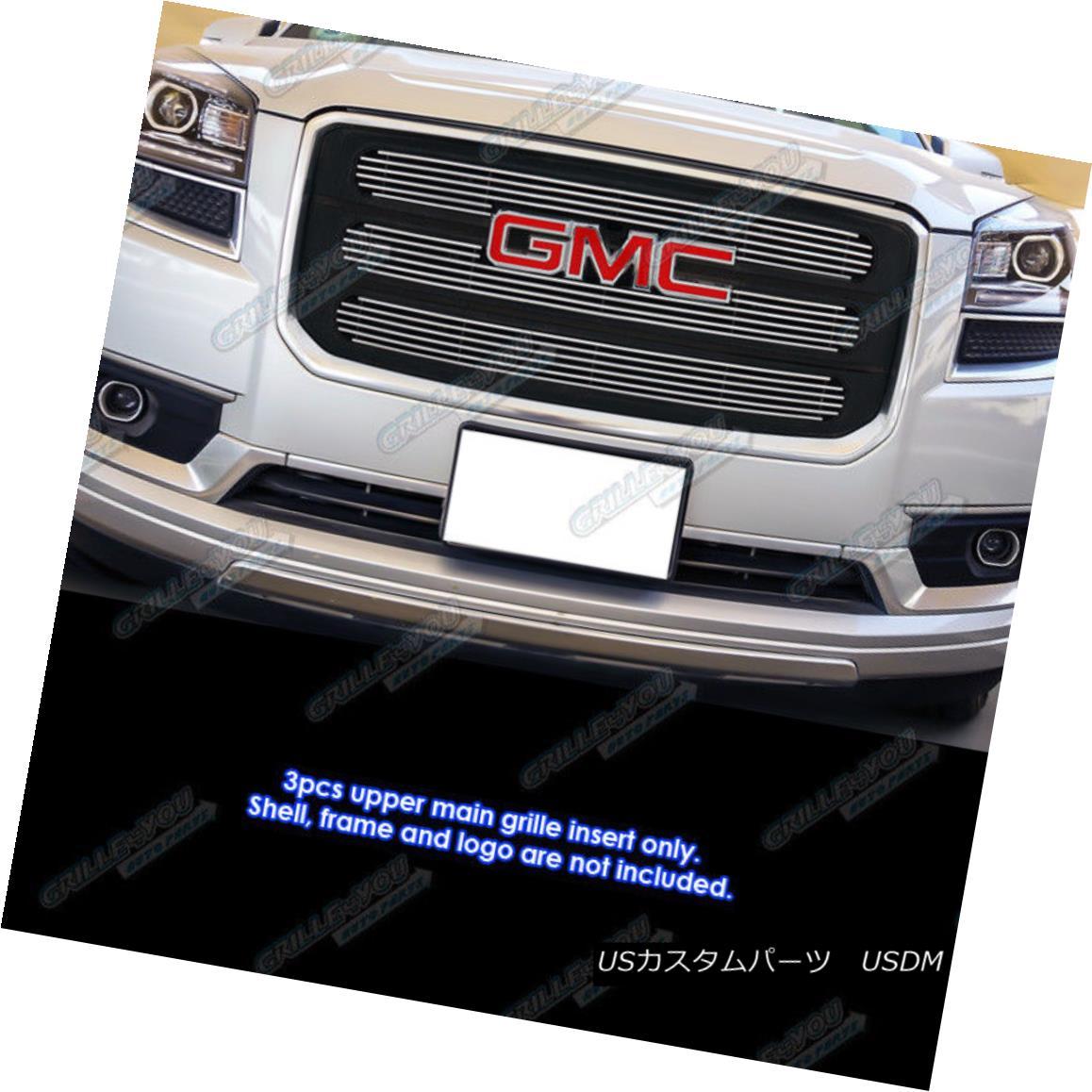 グリル Fits 2013-2016 GMC Acadia Chrome Billet Grille Insert with Logo Show 2013-2020 GMCアカディアクロムビレットグリルインサートロゴショーに適合