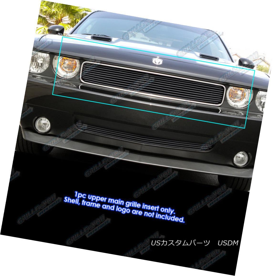 グリル Fits 2009-2014 Dodge Challenger Black Billet Grille Grill Insert 2009-2014ダッジチャレンジャーブラックビレットグリルグリルインサートに適合