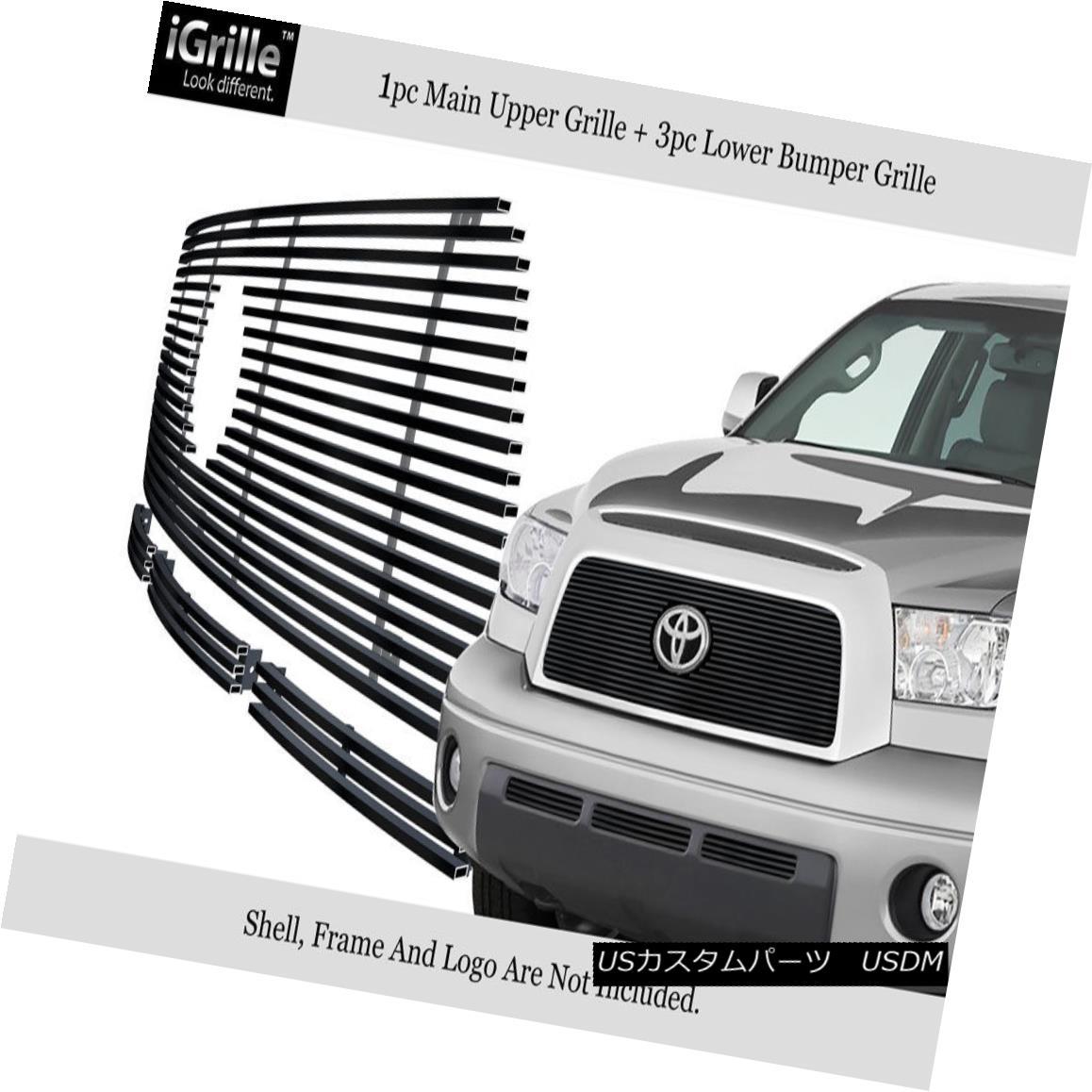 グリル Fits 2007-2009 Toyota Tundra Stainless Steel Black Billet Grille Combo 2007?2009年のトヨタ・トンドラ・ステンレス・ブラック・ビレット・グリル・コンボ
