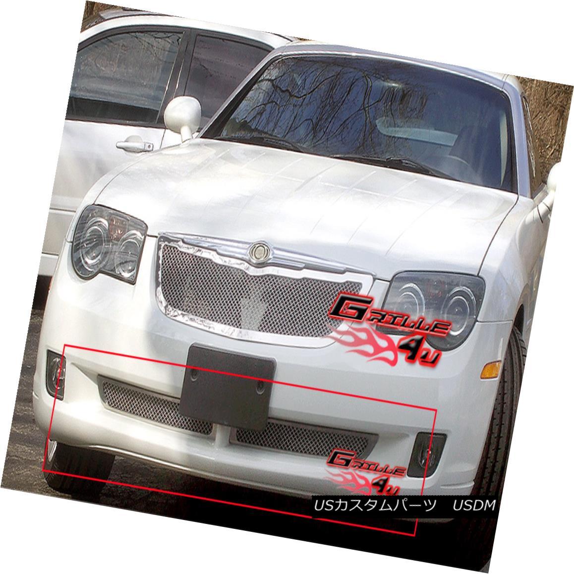 グリル Fits 2004-2008 Chrysler Crossfire Bumper Stainless Mesh Grille フィット2004-2008クライスラークロスファイアバンパーステンレスメッシュグリル