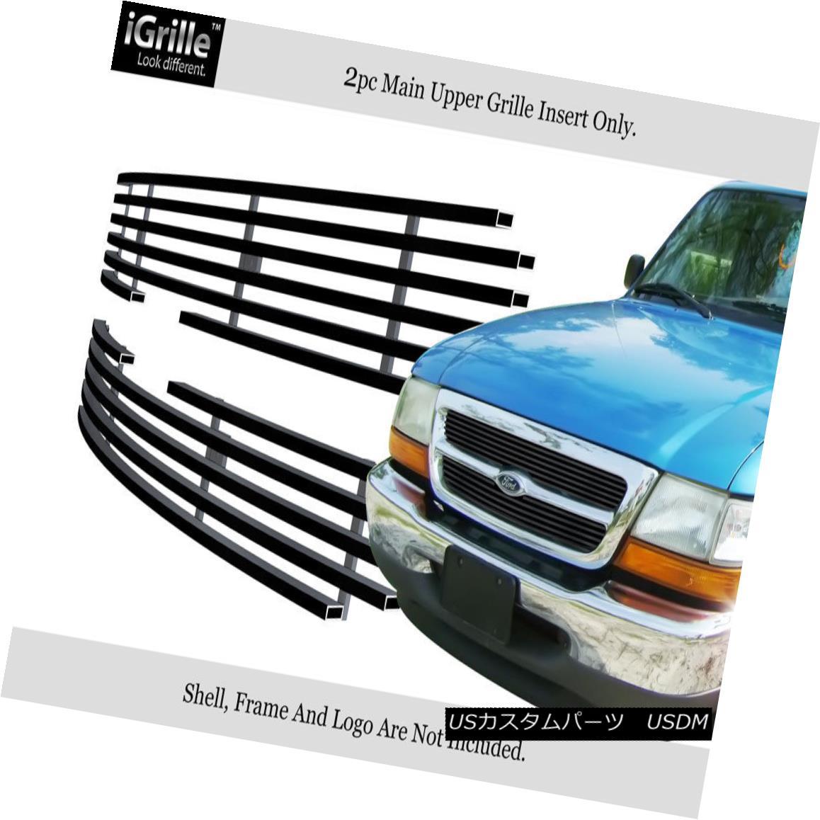 グリル For 1998-2000 Ford Ranger Black Biller Grille Grill Insert for 2WD only 1998 - 2000年フォードレンジャーブラックビレットグリルグリル2WD専用