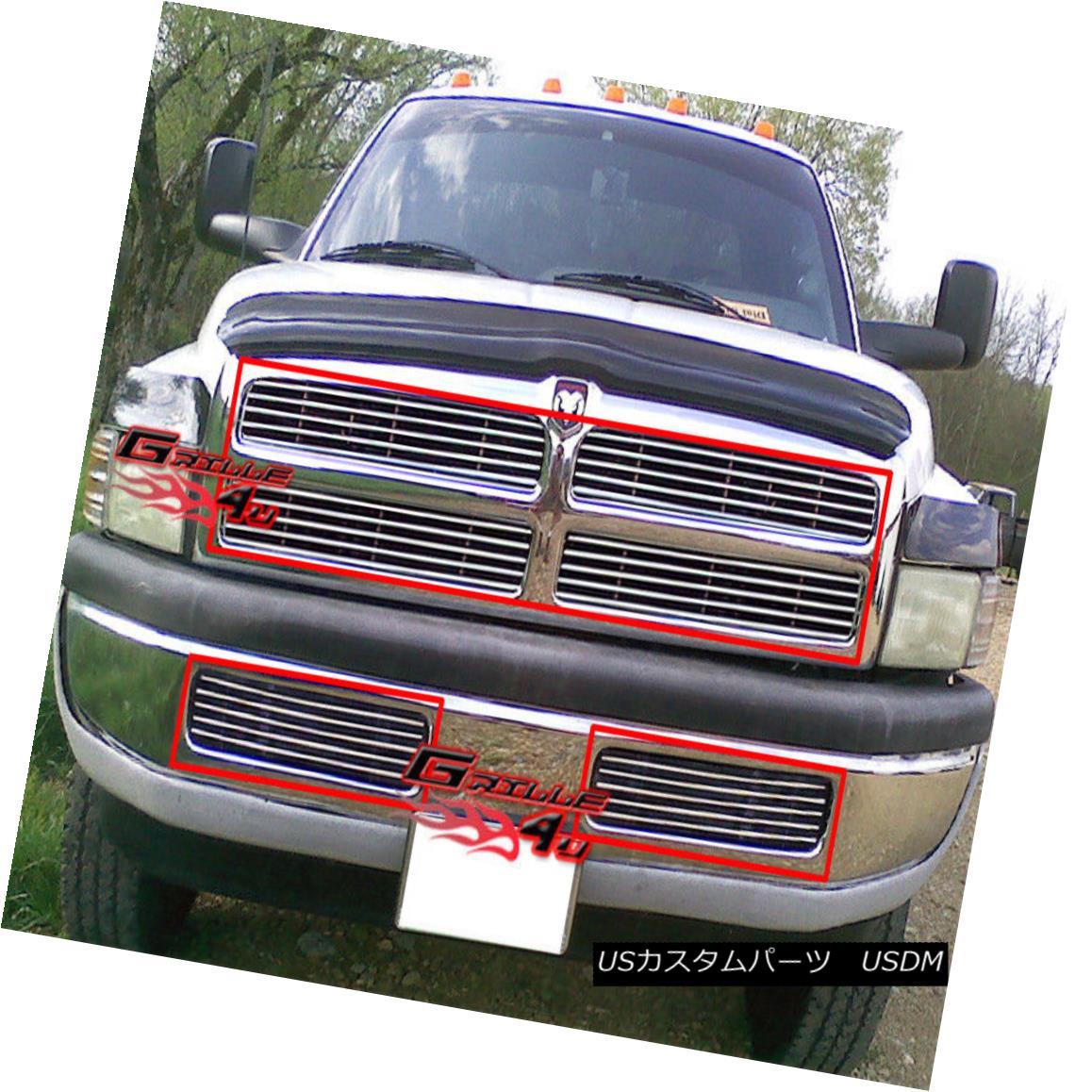 グリル Fits 1994-2001 Dodge Ram Pickup Billet Grille Combo フィット1994-2001ドッジラムピックアップビレットグリルコンボ