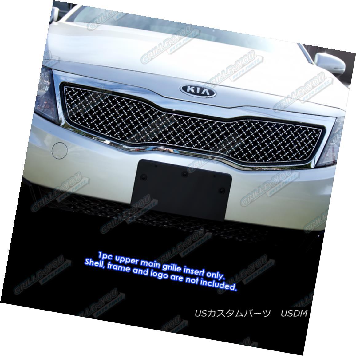 グリル Fits 2011-2013 Kia Optima LX/EX Stainless Steel X Mesh Blitz Grille Grill 2011-2013年に適合機種Optima LX / EXステンレス鋼Xメッシュブリッツグリルグリル