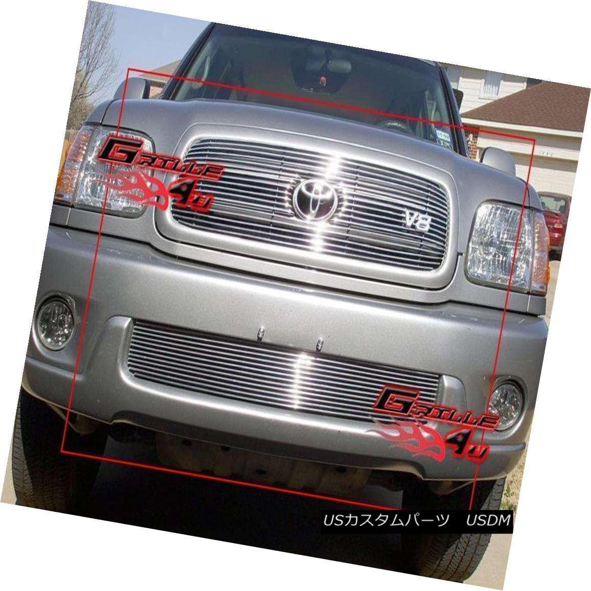 グリル Fits 2001-2004 Toyota Sequoia Billet Grille Combo フィット2001-2004トヨタセコイアビレットグリルコンボ