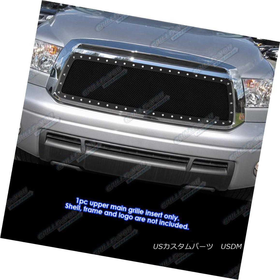 グリル Fits 2010-2013 Toyota Tundra Stainless Black Mesh Grille Grill Insert フィット2010-2013トヨタトンドラステンレスブラックメッシュグリルグリルインサート
