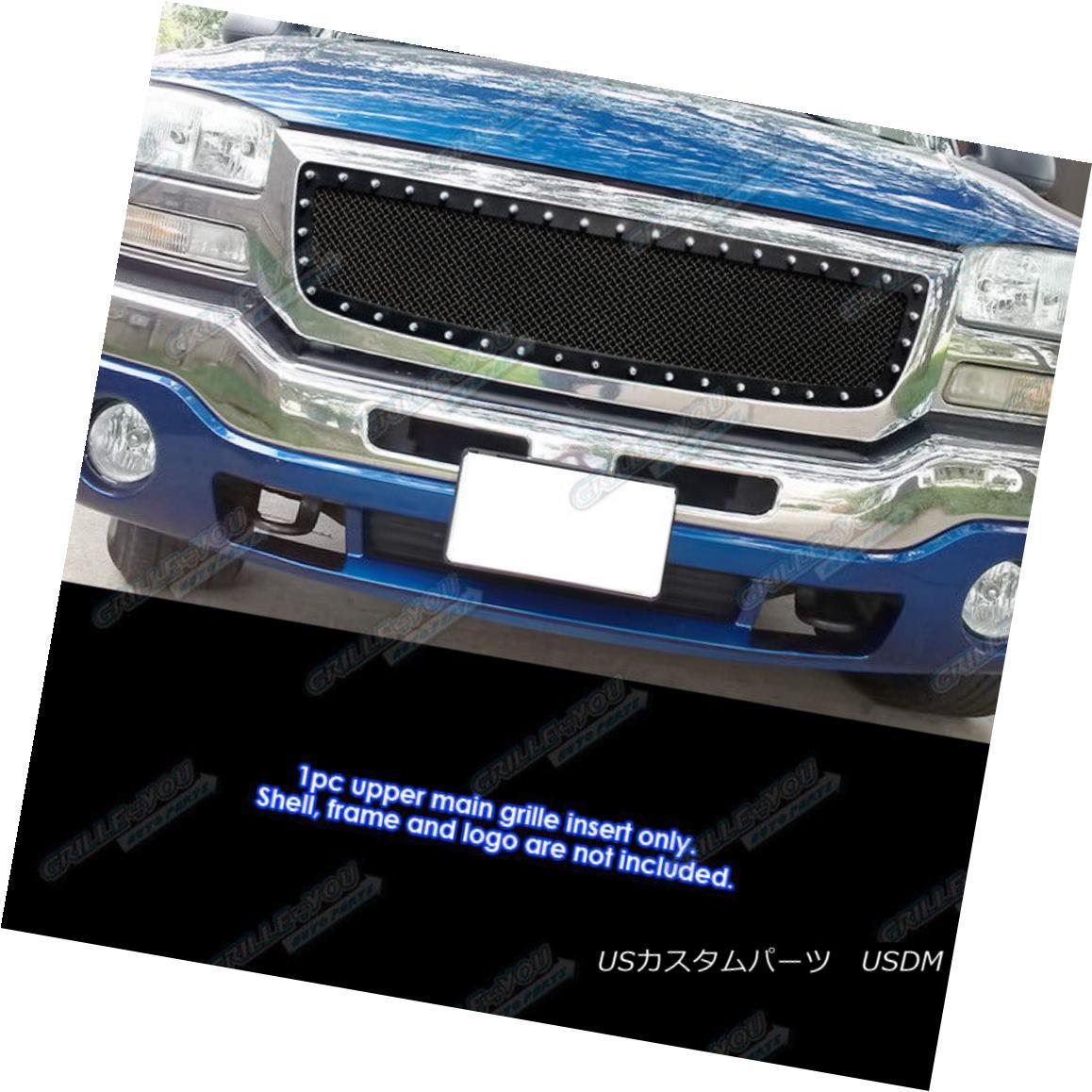 グリル For 2003-2006 GMC Sierra 1500 W/Logo Covered Stainless Black Rivet Mesh Grille 2003-2006 GMC Sierra 1500 W / Logoのカバー付きステンレスブラックリベットメッシュグリル