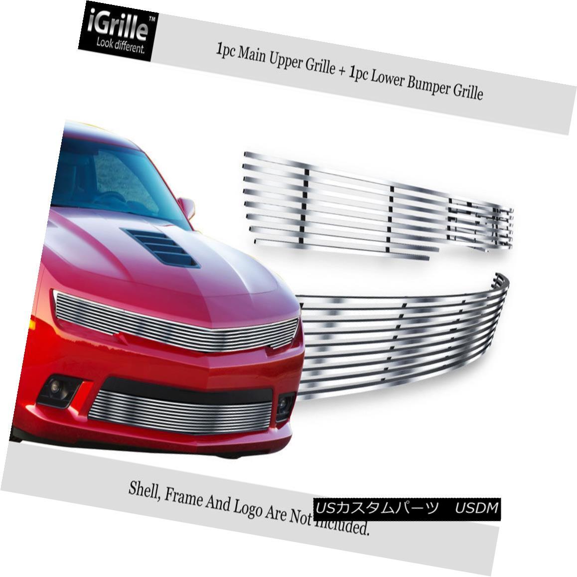グリル Fits 2014-2015 Chevy Camaro LS/LT W/RS Package Phantom Style Billet Grille Combo フィット2014-2015シボレーカマロLS / LT W / RSパッケージファントムスタイルビレットグリルコンボ