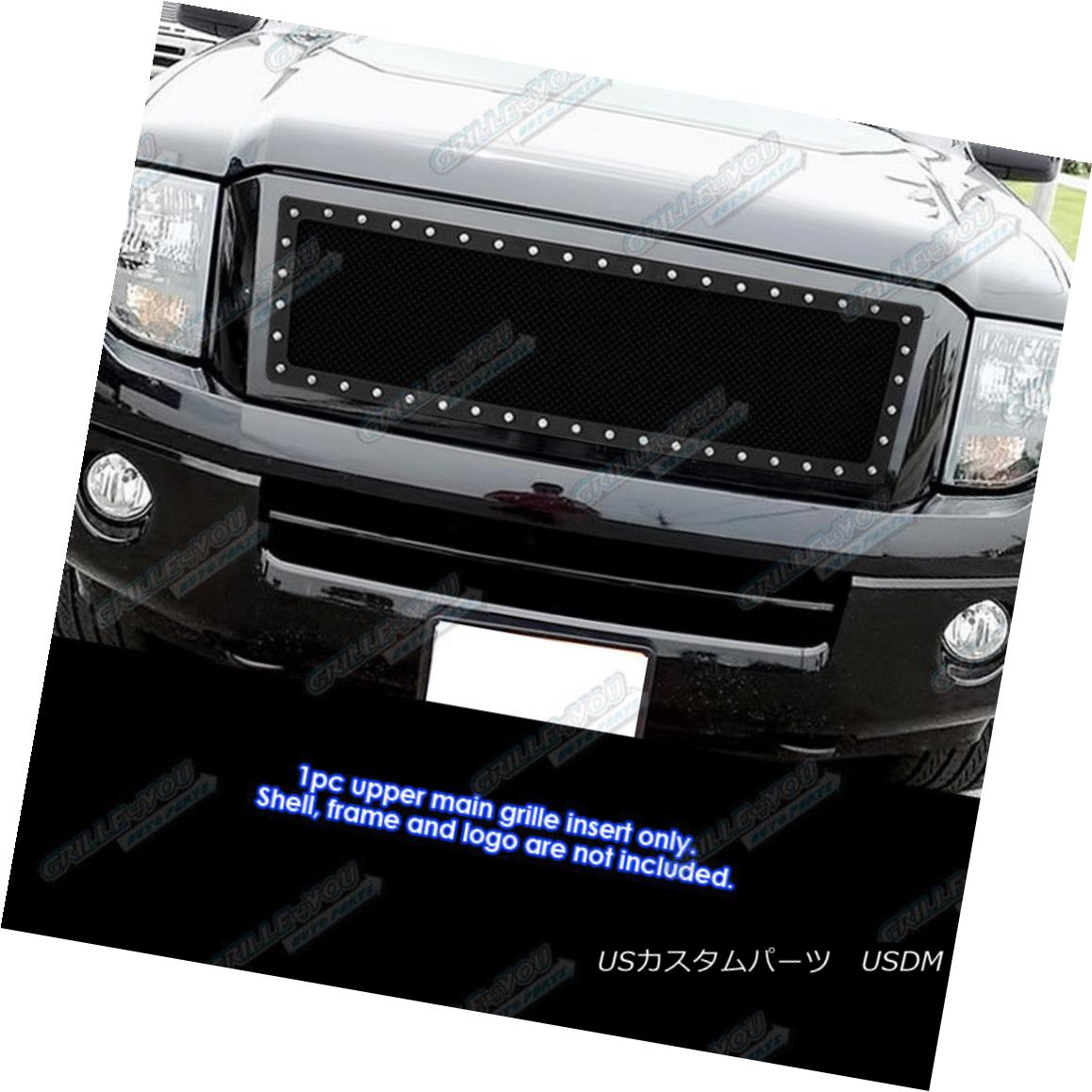 グリル Fits 2007-2013 Ford Expedition Stainless Steel Black Rivet Studs Grille Inserts フィット2007年?2013年フォード遠征ステンレススチールブラックリベットスタッズグリルインサート