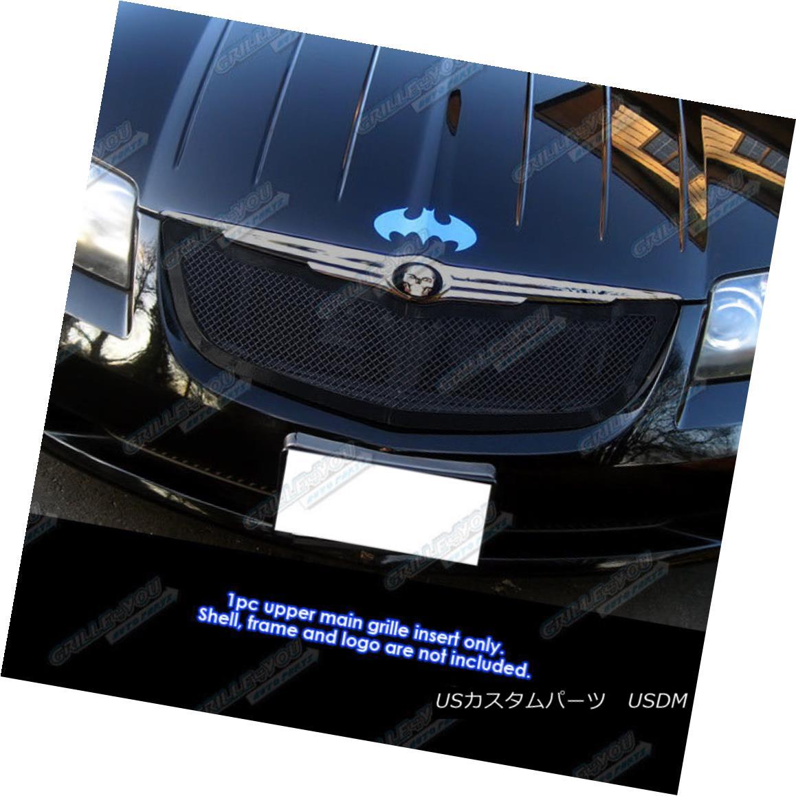 グリル Fits 04-08 Chrysler Crossfire Black Stainless Mesh Grille フィット04-08クライスラークロスファイアブラックステンレスメッシュグリル