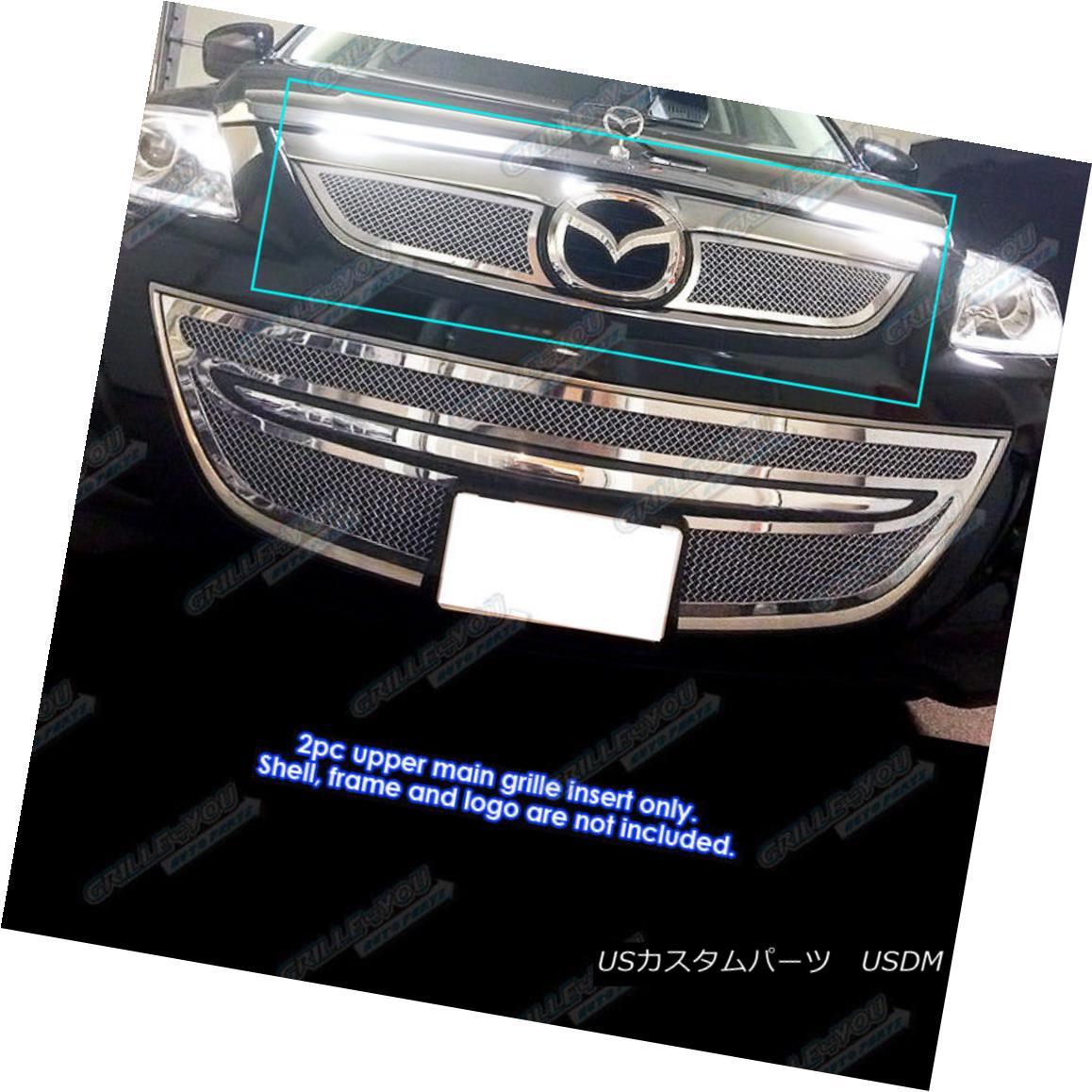 グリル Fits 2010-2013 Mazda CX-9 CX9 Stainless Steel Mesh Grille Grill Insert フィット2010-2013マツダCX - 9 CX9ステンレスメッシュグリルグリルインサート