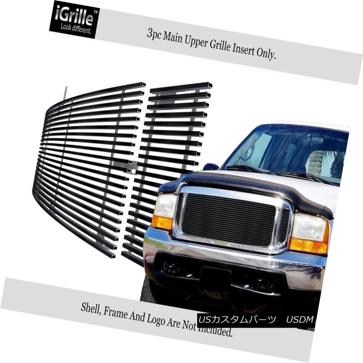 グリル 99-04 Ford F250/F350/F450/F550 SD/00-04 Excursion Black Stainless Billet Grille 99-04 Ford F250 / F350 / F450 / F550 SD / 00-04エクスカーションブラックステンレスビレットグリル