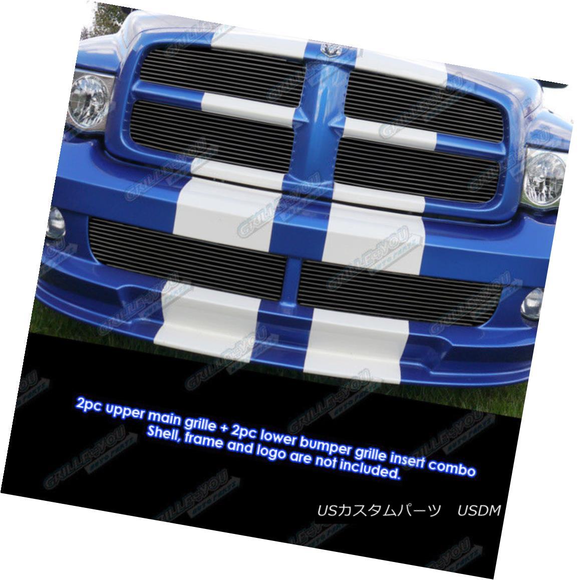 グリル Fits 2004-2005 Dodge Ram SRT 10 Black Billet Grille Combo フィット2004-2005ドッジラムSRT 10ブラックビレットグリルコンボ