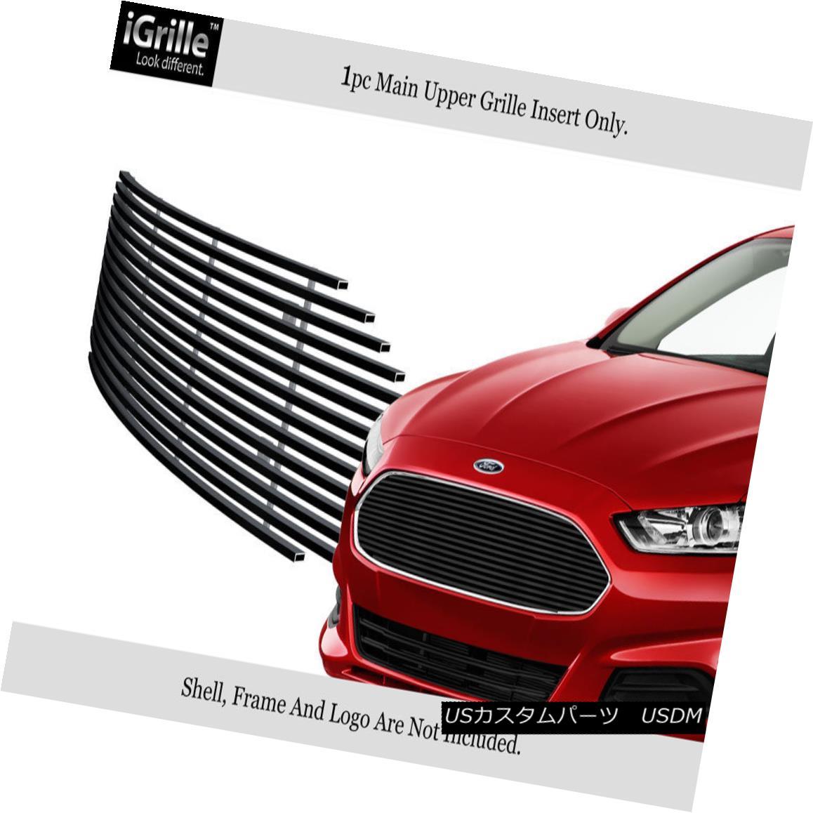 グリル Fits 2013-2016 Ford Fusion Upper Stainless Steel Black Billet Grille フィット2013-2016フォードフュージョンアッパーステンレススチールブラックビレットグリル