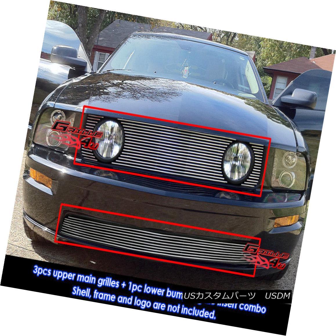 グリル Fits 2005-2009 Ford Mustang GT V8 Billet Grille Combo フィット2005-2009フォードマスタングGT V8ビレットグリルコンボ