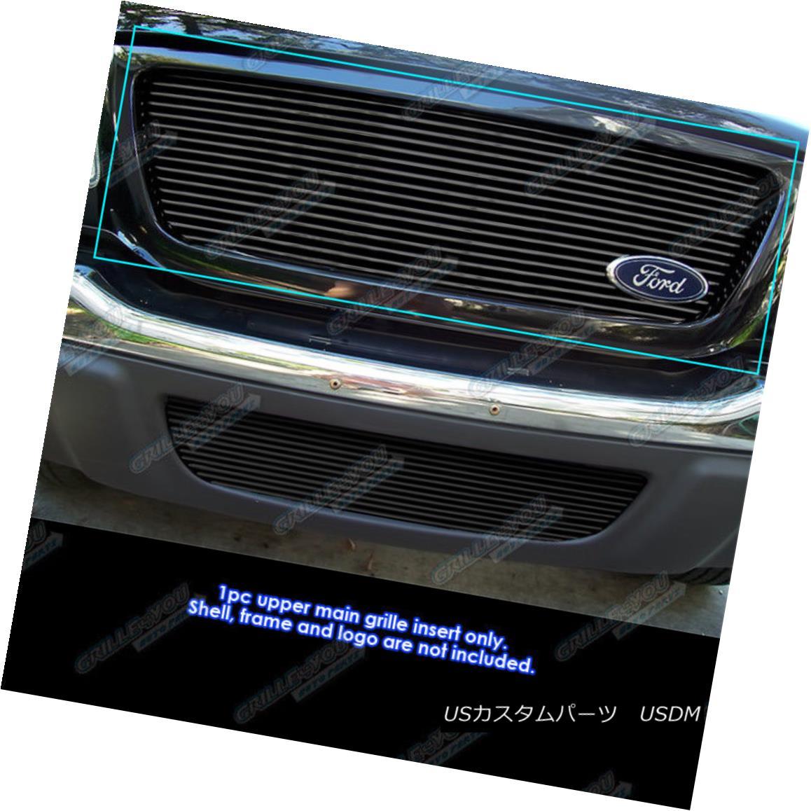 グリル Fits 01-03 Ford Ranger XLT XL 2WD Black Billet Grille Grill Insert フィット01-03フォードレンジャーXLT XL 2WDブラックビレットグリルグリルインサート