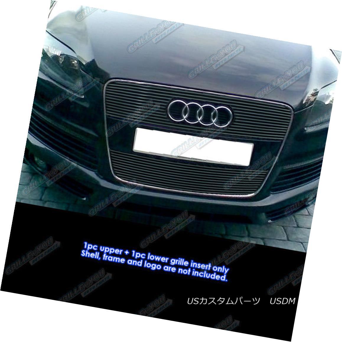 グリル Fits 2007-2012 Audi Q7 Black Billet Grille Inserts フィット2007年から2012年のアウディQ7ブラックビレットグリルインサート