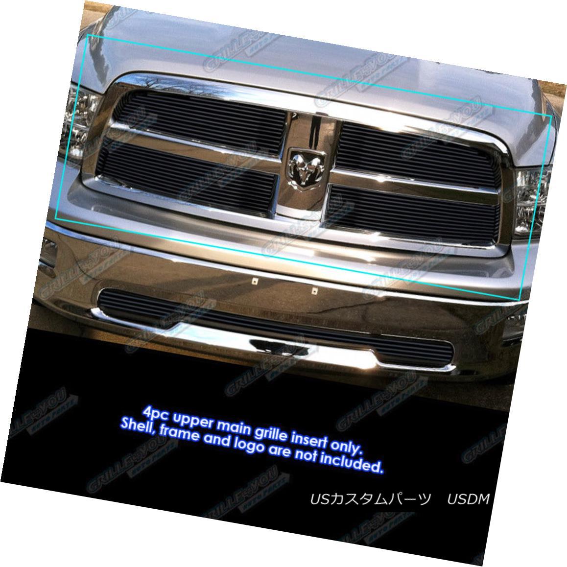 グリル Fits 2009-2012 Dodge Ram 1500 Black Billet Grille Grill Insert フィット2009-2012ダッジラム1500ブラックビレットグリルグリルインサート
