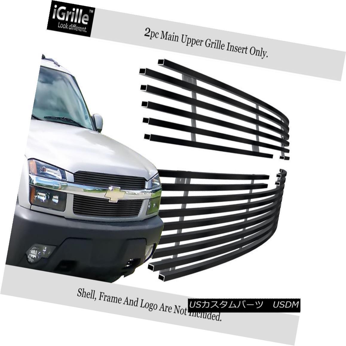 グリル Fits 2001-2006 Chevy Avalanche With Body Cladding Stainless Black Billet Grille 2001-2006シボレーアバランチェ、ボディクラッディング付きステンレスブラックビレットグリル