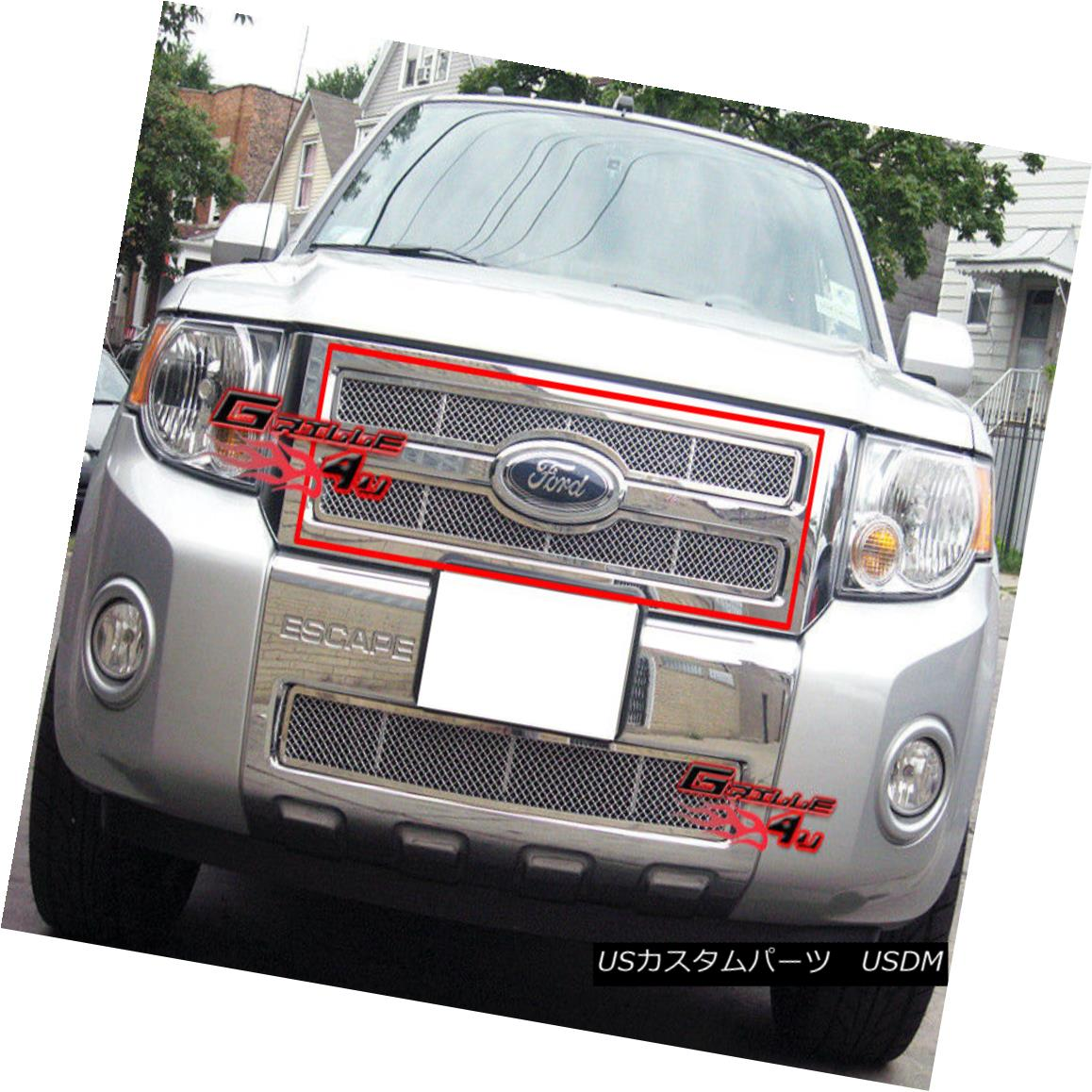 グリル Fits 08-11 2011 Ford Escape Stainless Mesh Grille Insert フィット2011年8月11日フォードエスケープステンレスメッシュグリルインサート